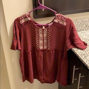 Red short sleeved blouse